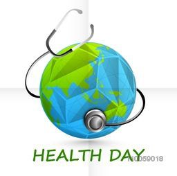 World Health Day concept with origami globe covered by stethoscope.