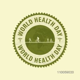 World Health Day concept with green rubber stamp.