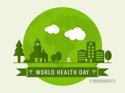 World Health Day concept with green illustration of urban city.