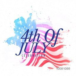 Stylish text 4th of July on waving national flag background for American Independence Day celebration.