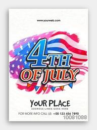 Creative Pamphlet, Banner or Flyer design with stylish text 4th of July on flag decorated background for American Independence Day celebration.
