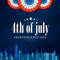 Creative Poster, Banner or Flyer design with city view for 4th of July, American Independence Day celebration.