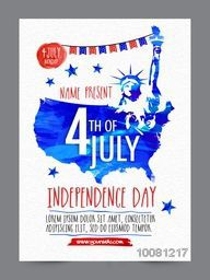 Creative Pamphlet, Banner or Flyer design with Statue of Liberty for 4th of July, Independence Day celebration.