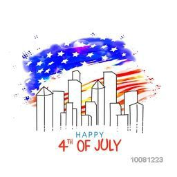 Creative view of city on American Flag color background for 4th of July, Independence Day celebration.