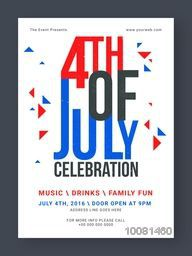 Creative Pamphlet, Banner or Flyer design with stylish text 4th of July for American Independence Day Party celebration.
