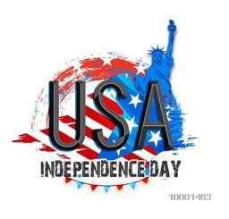Creative glossy text U.S.A on Statue of Liberty and Flag colors background for American Independence Day celebration.