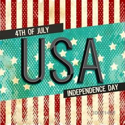 Creative text U.S.A on American Flag colors background, Vintage Poster, Banner or Flyer design for 4th of July, Independence Day celebration.