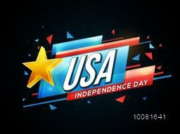 Glossy text U.S.A, Independence Day with Golden Star on blue and red banner for American Independence Day celebration.