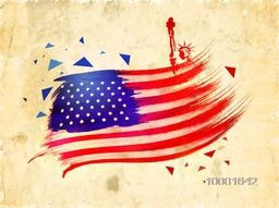 Creative American Flag design with Statue of Liberty on vintage background for 4th of July celebration.