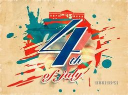 Vintage Poster, Banner or Flyer design with American Flag color text 4th of July on creative abstract background for Independence Day celebration.