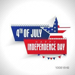 Stylish text 4th of July, Happy Independence Day on American National Flag color stripes with Star.