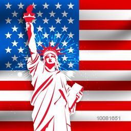 Creative Statue of Liberty on American Flag Color background for 4th of July, Independence Day celebration.