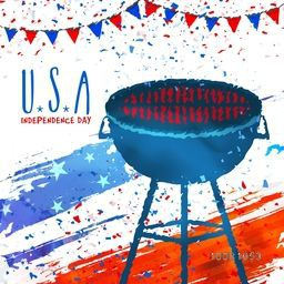 BBQ Grill Party Invitation Card design for 4th of July, American Independence Day celebration.
