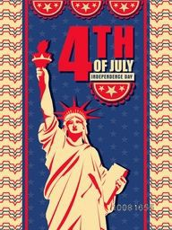 Vintage Pamphlet, Banner or Flyer design with Statue of Liberty on stars decorated background for 4th of July, American Independence Day celebration.