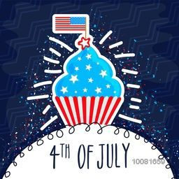 Sweet Cupcake in American Flag colors on blue background, Elegant greeting card design for 4th of July, Independence Day celebration.