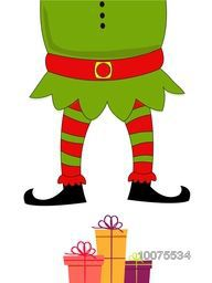 Merry Christmas celebration with illustration of Santa Claus Body and colorful gifts on shiny white background.
