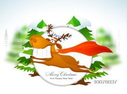 Cute reindeer running on creative Xmas Tree background for Merry Christmas and Happy New Year celebration.