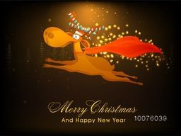 Funny reindeer with colorful lights, running on shiny brown background for Merry Christmas and Happy New Year celebration.