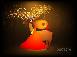 Funny reindeer holding gift sack by mouth on shiny brown background for Merry Christmas celebration.