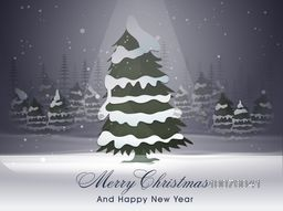 Creative Xmas Tree in spot light on winter background for Merry Christmas and Happy New Year celebration.