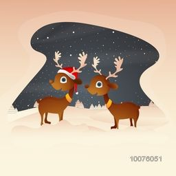 Cute reindeers on snowy winter background for Merry Christmas celebration.