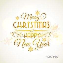 Inscription Merry Christmas and Happy New Year with snowflakes, Creative golden typographic background, Can be used as Poster, Banner, Flyer, Greeting Card or Invitation Card design, Hand drawn vector illustration.