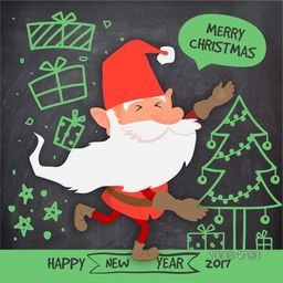 Creative hand drawn doodle style illustration of Cute Santa Claus, Xmas Tree and Gifts on chalkboard background for Merry Christmas and Happy New Year celebration.