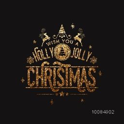 Golden glittering inscription Holly Jolly Christmas on black background, Sparkling lettering design, Can be used as Greeting Card, Invitation, Poster, Banner, Flyer etc.