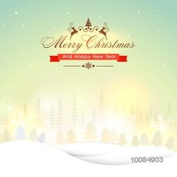 Merry Christmas and Happy New Year greeting card design, Beautiful snowy winter background with xmas trees, Creative vector illustration.