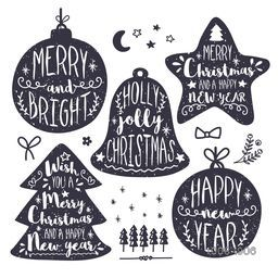 Creative decoration collection of Calligraphic or Typographic design, Labels and other elements for Merry Christmas and Happy New Year celebration.