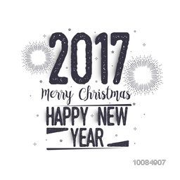 2017 Merry Christmas and Happy New Year hand drawn lettering design, Creative typographic background, Can be used as Greeting Card, Poster, Banner or Flyer.