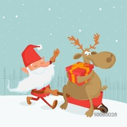 Cute Santa Claus pulling Reindeer sitting on sleigh and holding gift box, Beautiful winter background for Merry Christmas celebration.