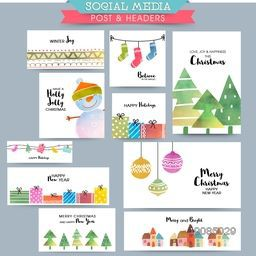 Creative Social Media Post and Header set, Collection of colorful elements, character and typography for Merry Christmas celebration.