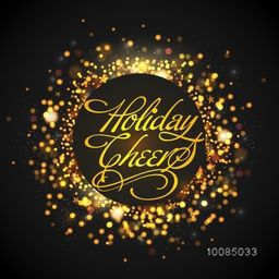 Holiday Cheers Poster, Banner or Flyer design, Golden bokeh defocused festive background, Can be used as Greeting Card or Invitation Card design also.