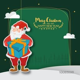Santa Claus puppet holding big gift box on green background, Stylish sticker, tag or label design, Creative frame with space for wishes, Vector illustration for Merry Christmas and Happy New Year celebration.