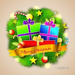 Colorful wrapped gift boxes, golden ribbon and other decorative elements on fir branches for Merry Christmas celebration.