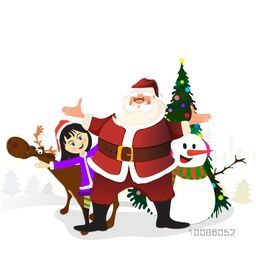 Christmas characters set including Smiling Santa Claus, Cute Little Girl, Reindeer, Snowman and Big Xmas Tree on white background.
