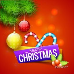 Merry Christmas celebration concept with glossy candy canes, hanging baubles by fir branches and mistletoes on shiny red background.