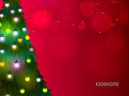 Big Xmas Tree decorated with lights on shiny red background for Merry Christmas celebration.
