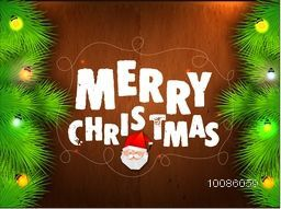 Hand drawn Merry Christmas lettering design with Santa Face, Fir branches and lights decoration on wooden background.
