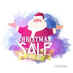 Christmas Sale with 50% Off. Illustration of smiling Santa Claus on abstract background.