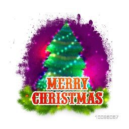 Creative Xmas Tree on abstract background for Merry Christmas celebration.