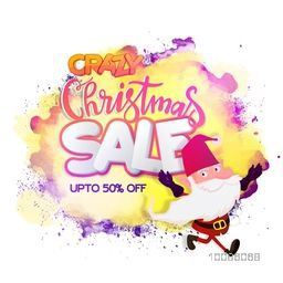 Crazy Christmas Sale with upto 50% Off. Creative Poster with illustration of Santa Claus on abstract background.