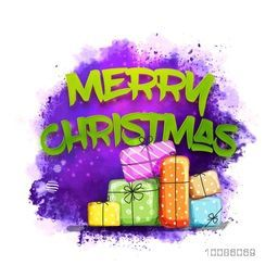 Merry Christmas celebration with colorful gift boxes on abstract background.