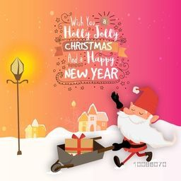 Greeting Card with Santa Claus holding sleigh for Holly Jolly Christmas and Happy New Year celebration.