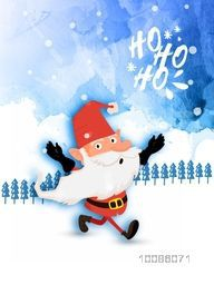 Illustration of Santa Claus on winter background for Merry Christmas celebration.