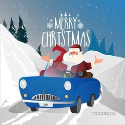 Santa Claus in blue car on snowy winter background for Merry Christmas celebration.