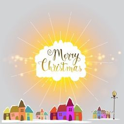 Colorful houses on shiny background for Merry Christmas celebration.