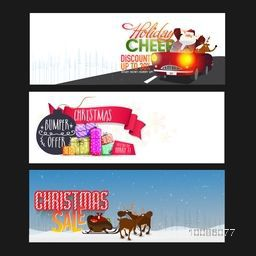 Christmas Sale website header or banner set with Santa Claus in car, colorful gifts and reindeer sleigh.