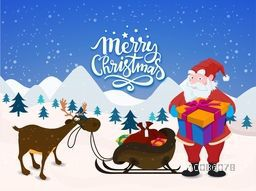 Merry Christmas celebration with illustration of Santa Claus holding big gift and reindeer with sleigh on snowy winter background